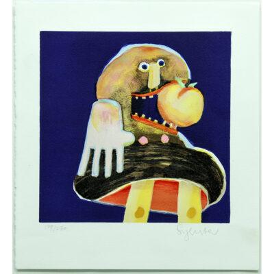 farve komposition mand æble mund