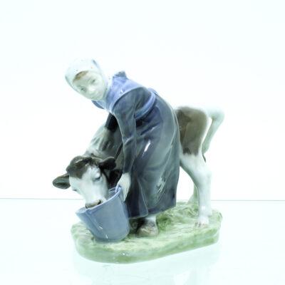 kalv pige spand figur porcelæn