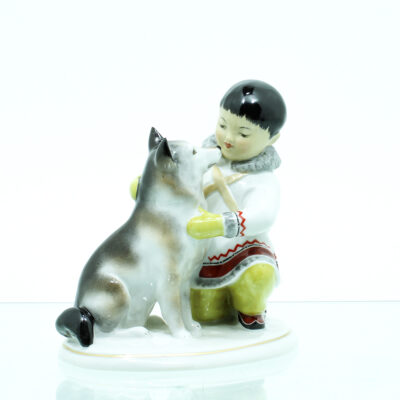 hund eskimo figur porcelæn